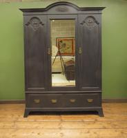 Antique Black Painted Mirrored Triple Wardrobe in 5 Parts, Gothic Shabby Chic