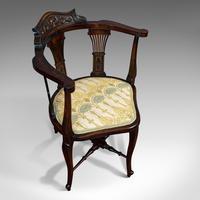 Antique Corner Armchair, French, Beech, Seat, Art Nouveau, Victorian c 1890 (7 of 12)