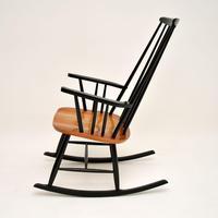 1960's Vintage Ebonised Elm Rocking Chair (4 of 11)