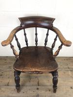 19th Century Ash and Elm Smoker's Bow Chair (M-1704) (12 of 15)