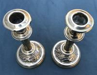 Pair of Victorian Brass Candlesticks with Hunting Scene Bases (5 of 6)