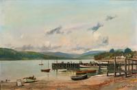 'The Lake District' Exceptional Vintage Seascape Oil On Canvas Painting c1960' (2 of 12)
