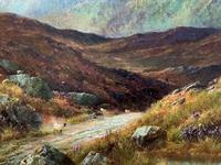(1of2) Huge Exceptional 19thc Snowdonia Welsh Mountain Landscape Oil Painting (5 of 15)