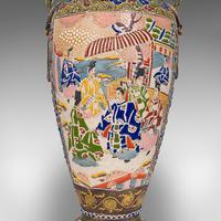 Pair Of Tall Antique Satsuma Vases, Japanese, Ceramic, Decorative, Moriage, 1900 (3 of 12)