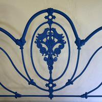 Blue Curly Iron Victorian Antique Bed (6 of 6)