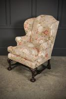 Chippendale Style Floral Upholstered Wing Chair (6 of 16)