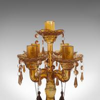 Pair of Antique Candelabra, English, Glass, Candle Stand, Victorian c.1890 (4 of 12)