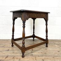Early 20th Century Antique Oak Carved Side Table (3 of 10)