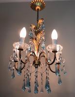 Vintage Gilt Toleware Ceiling Light Chandelier with Teal Glass Droplets (3 of 12)
