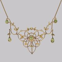 Antique Peridot & Seed Pearl Necklace Edwardian 9ct Gold Floral Scroll Necklace