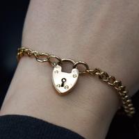 "Antique Heart Padlock Graduated Curb 9ct 9K Gold Bracelet 7.5"" (8 of 9)"