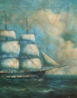 Original Seascape Oil Painting of 18th Century Tall-Masted Ship on the High Seas (10 of 12)
