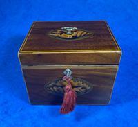 18th Century Mahogany  Shell Inlaid Tea Caddy (16 of 18)