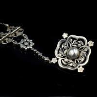 Antique Old Cut Blue Paste Drop Sterling Silver Pendant Necklace (4 of 12)