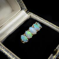 Vintage Opal Five Stone 9ct 9K Yellow Gold Band Ring (2 of 10)