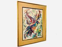 A Stunning Original Gabrielle Bouffay Watercolour Painting L'Oiseau Bleu 1968 (7 of 7)