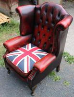 1960s Red Leather Wingback Armchair with Union Jack (3 of 3)