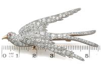 3.34ct Diamond, Ruby & 18ct Yellow Gold Swallow Brooch - Antique c.1910 (8 of 9)