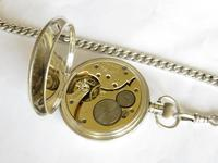 Antique Denco Silver Hunter Pocket Watch, Military History (5 of 7)