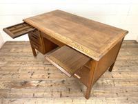 Early 20th Century Antique Oak Pedestal Desk (6 of 9)