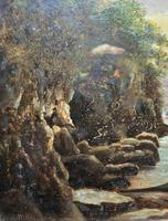 Small Original 19th Century Victorian Woodland River Landscape Oil Painting (6 of 12)
