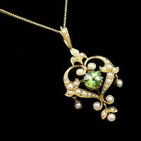 Antique Peridot and Pearl Lavalier 15ct 15K Gold Drop Pendant Necklace and Brooch (4 of 12)