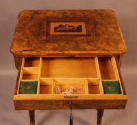 Good Victorian Ladies Sewing Table inlaid with castle ruins (7 of 10)