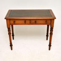 Antique Victorian Walnut Leather Top Writing Table / Desk (2 of 10)