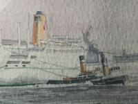 1950's Watercolour RMS Empress of England & Britain Liner Ships Liverpool Mersey (8 of 12)