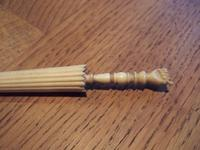 Victorian bone needle case in shape of parasol with clasped hand handle & Stanhope (3 of 3)