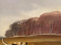 """Victorian Sporting Oil Painting """"Taking A Fence"""" Horse  & Rider With Scent Foxhounds Hunting By John Alfred Wheeler (27 of 59)"""