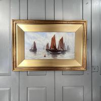 Antique Edwardian Marine Seascape Oil Painting of Sailing Boats '1 of 2'