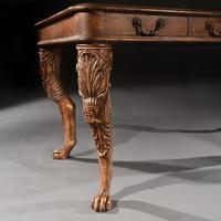 Unusual Mid 20th Century Spanish Cast Iron & Leather Clad Writing Table (2 of 5)