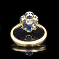 Antique Blue Sapphire and Old Cut Diamond Cluster 18ct 18K Yellow Gold and Platinum Ring (4 of 10)