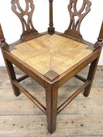 Antique 19th Century Oak Corner Chair with Rush Seat (7 of 10)