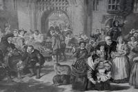 Large 19th Century Engraving. Busy Interior Courtyard Scene (4 of 6)