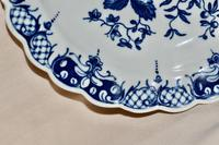"""18th Century Worcester Porcelain Scallop-edge Shallow Dish """"Pine-cone Group"""" (5 of 7)"""