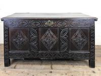 Antique 18th Century Carved Oak Coffer (M-1635)
