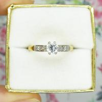 Art Deco 18ct Platinum Diamond Solitaire Engagement Ring 0.35ct (5 of 10)