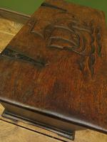 Antique Oak Chest with Carved Ship Detail to Lid Maritime Nautical Storage Chest (2 of 14)