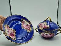 Dresden 19th Century Porcelain Ecuelle, Antique German Porcelain Covered Bowl Plate (2 of 7)