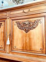 French Antique Sideboard / Walnut Buffet / Marble Cupboard (9 of 10)