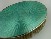 Antique Sterling Silver Hallmarked Green Guilloche Enamel Backed Brush 1928, Henry Matthews (7 of 8)