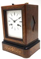Fine French Officers 8-day Mantel Clock – Rosewood Case With Satinwood Inlay (4 of 13)