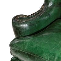 George III Green Leather Wing Armchair (5 of 5)