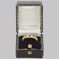 Antique Ruby & Rose Cut Diamond Ring 15ct Gold Victorian Five Stone Ornate Ring (7 of 12)