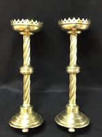 Pair of Wonderful Large Brass Gothic Revival Altar Candlesticks (6 of 7)