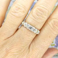 Vintage 18ct White Gold Seven Stone Diamond Half Eternity Wedding Band 0.85ct (2 of 9)