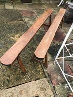 Pair of French Solid Oak Country Rustic Benches (3 of 6)