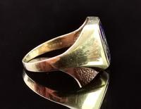 Vintage 9ct Gold Masonic Swivel Ring, Signet, Blue Enamel (7 of 13)